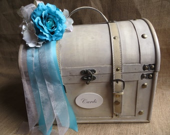 Pick Your Ribbons & Flowers - Very large Shabby Chic Cream Wedding Trunk, Wedding Card Holder, Money Holder, Money Box, Wedding Suitcase