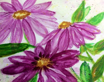 Original Watercolor Painting Pink Flowers Matted with Matching Journal