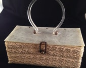 Vintage 1940's / 1950's Lucite Box Purse w/ Silk Ribbon  from Hollywood Home!