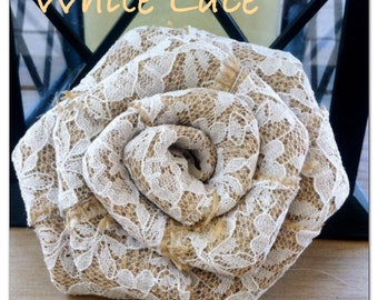 All Lace and Burlap Roses/ Many colors to choose from