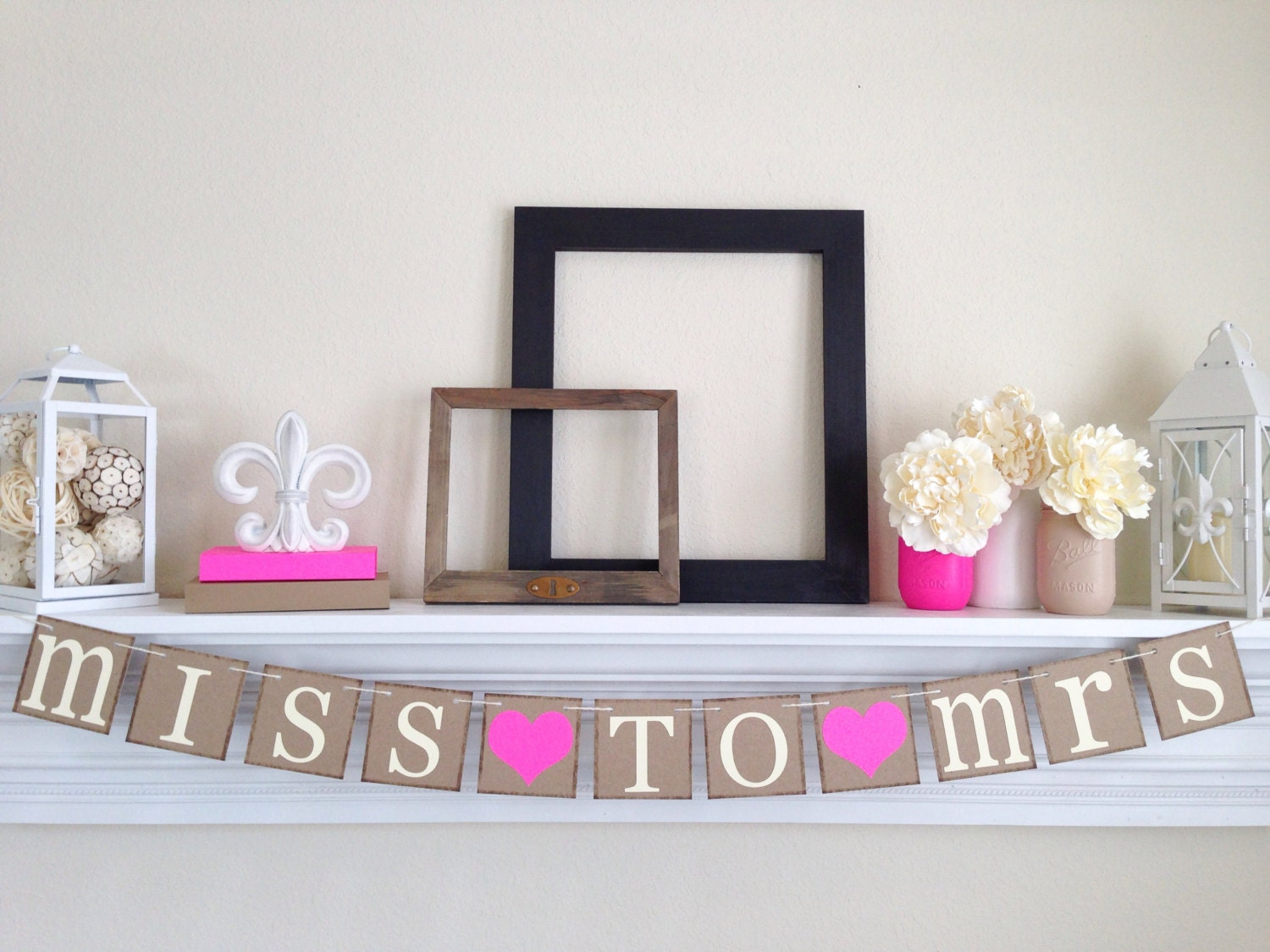 Miss to mrs banner bridal shower decorations bachelorette for Bachelorette decoration