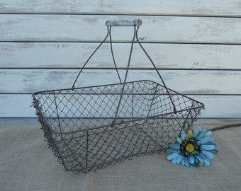 Wire Mesh Gathering Basket with Distressed White Wood Handle ~ Rustic Home Decor Fruit Vegetable Kitchen ~ Vintage Style Primitive