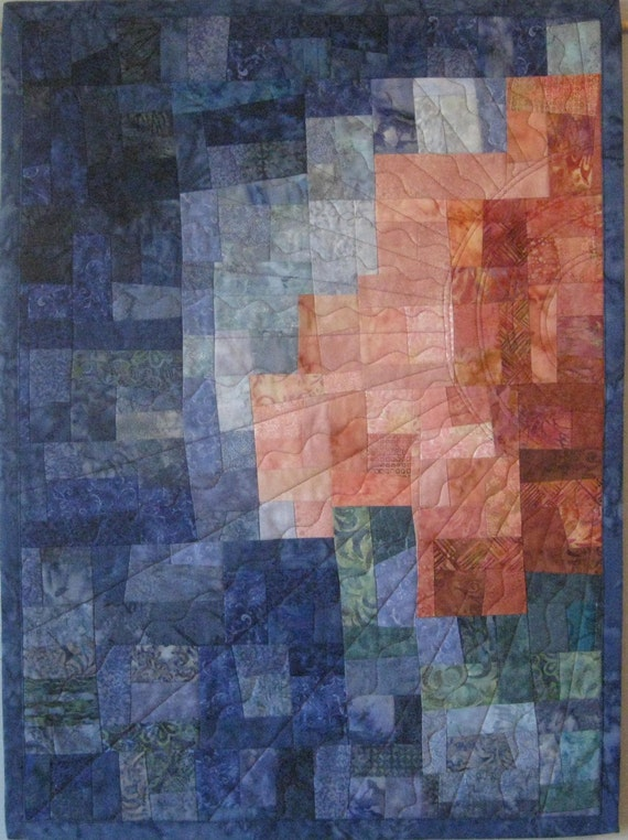 Art Quilt Mosaic Peach Blue Sun, Quilted Wall Hanging