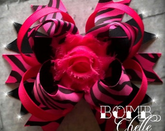 Hot Pink Zebra Hair Bow