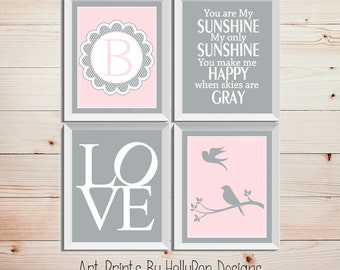 Pink Gray Nursery Art Bird Silhouette Art Prints You are My Sunshine Monogram Nursery Print Inspirational Nursery Wall Decor Girl Bedroom