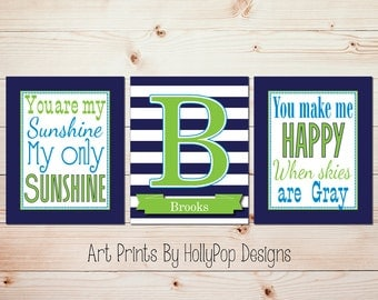 Boy Wall Art You are My Sunshine Art Prints Baby Boy Art Baby Decor Navy Lime Green Boy Nursery Monogram Print Personalized Decor #0918