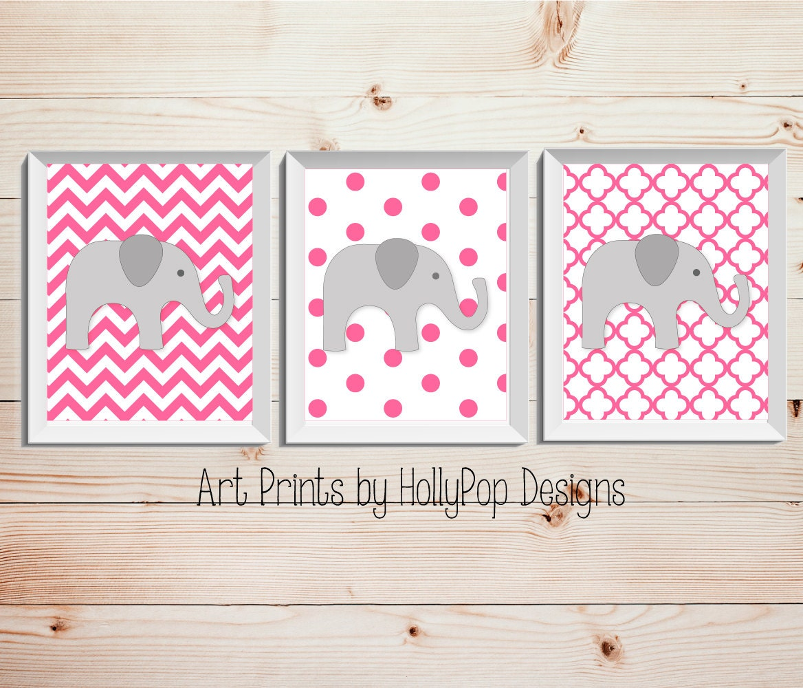 Baby girl nursery wall decor bright pink nursery art prints for Baby girl wall decoration