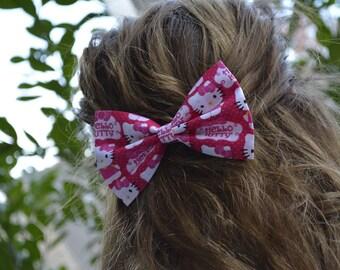 Hello Kitty hair bow for girls, fabric hair bow, hair bow for girls, Hellow Kitty