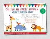 Custom Party Animals Invitation - Colorful Animal Birthday Party - Girl Boy Birthday - Digital Design or Printed Invitations - FREE SHIPPING