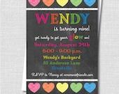 Neon Chalkboard Rainbow Hearts Invitation - Neon Themed Party - Digital Design or Printed Invitations - FREE SHIPPING