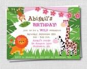 Girl Jungle Birthday Invitation - Jungle Themed Party - Digital Design or Printed Invitations - FREE SHIPPING
