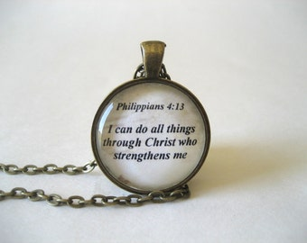 I Can Do All Things Through Christ Scripture Necklace Bible Verse Philippians 4:13