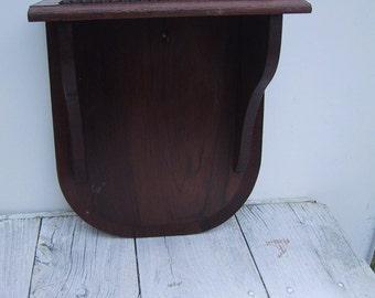 Vintage Wall Mounted Black Walnut Shelf