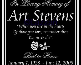 "Personalized Memorial 12""x12"" Custom Engraved Headstone Granite Grave Marker Plaque AS1"