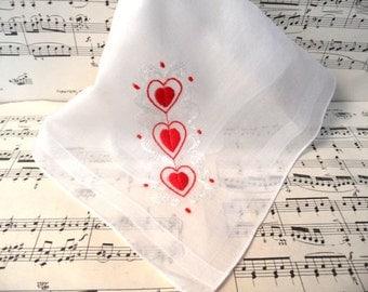 Valentine's Day red heart sheer cotton handkerchief / vintage heart Valentine hankie
