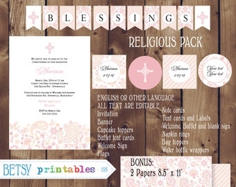 Religious celebration Kit, Baptism, Christening, First Communion, Confirmation DIY Editable - INSTANT DOWNLOAD 108