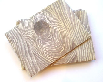 25 Wood grain A7 envelopes Handmade peel n stick 5-1/4 x7-1/4 Wood grain gray/brown pattern invitation announcements stationery cottage chic