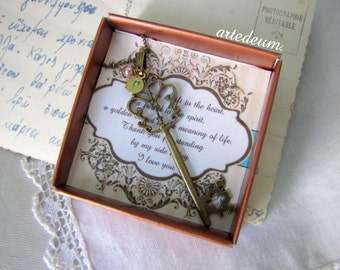 Will you be my Bridesmaid Gift Key Necklace Personalized Bridesmaids gift Romantic Vintage bridesmaid invitation Antique gold