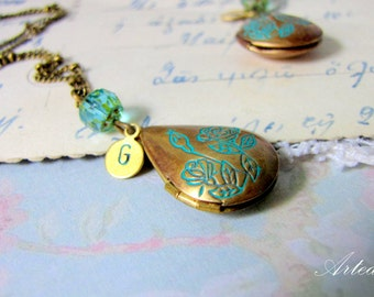 Personalized locket Necklace in Brown and Blue Floral vintage with blue crystal and Custom Initials tiny keepsake