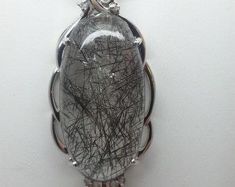 33.96ct Black Tourmalinated Quartz & White Sapphire Sterling Silver Pendant