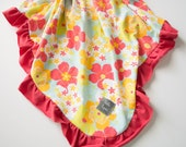 Baby Girl Red floral print blanket or baby swaddle with red ruffle