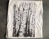 Last Chance LIMITED EDITION T shirt-Aspen Tree Forest-Heart-Couples Initials-Love and Wedding Original Drawing on Clothing