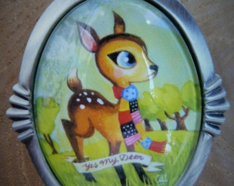 "Glass Cabochon Brooch Bambi ""Yes my Deer"""
