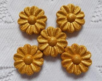 5  Golden Yellow Textured Satin Daisy Flower Acrylic Beads  30mm