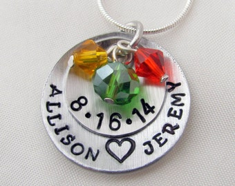 Hand Stamped Wedding Necklace with Date and Birthstone Charms
