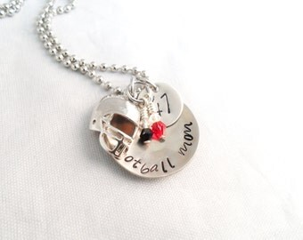 FOOTBALL MOM NECKLACE- Hand stamped, Mom Jewelry, Sports Jewelry, Team Colors with keychain option
