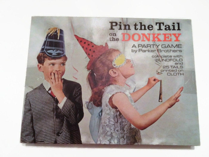 Vintage Pin The Tail On The Donkey Party Game Parker Brothers