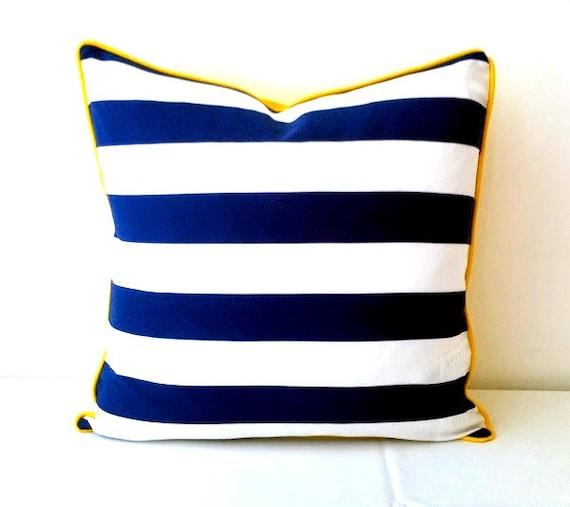 Yellow Beach Throw Pillows : Nautical Throw Pillow Cover 20 by 20 Stripes by CushionsandMore