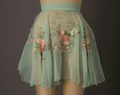 Reserved: 1950s Light Green Chiffon Embroidered Apron
