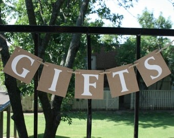 GIFTS BANNER  Wedding Banner Rustic Banner - Engagement Party Decoration - Photo Prop