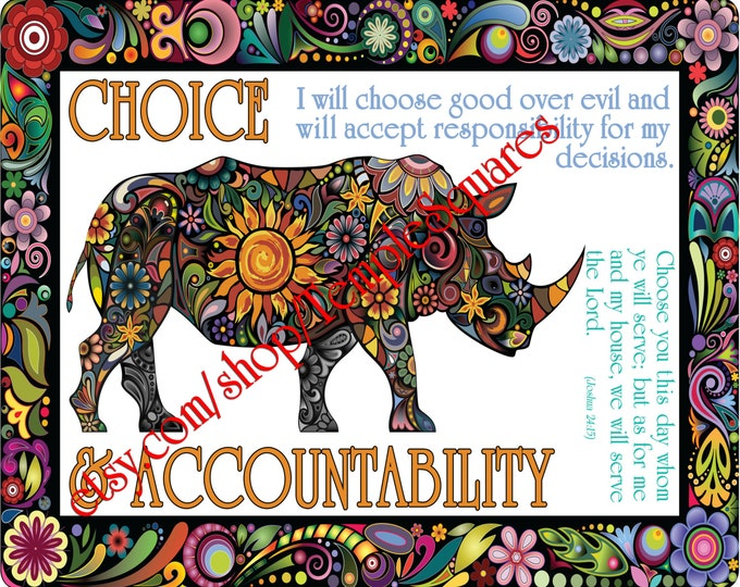 """PRINTABLE Young Women Values Personal Progress """"CHOICE and ACCOUNTABILITY"""" 4x6, 5x7, and 8x10"""
