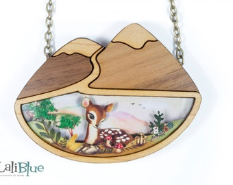 Bambi Necklace. Natural wood and cut paper diorama 3D.