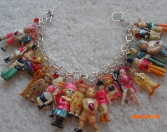 THE GANG'S all HERE celluloid charm Bracelet