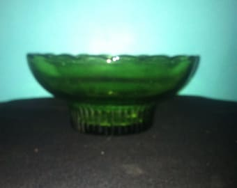 Emerald green glass dish