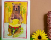 Drummer Bear, Hand Illustrated Greetings Card