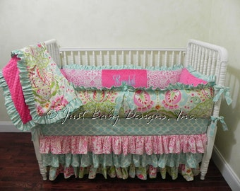 Baby Girl Crib Bedding Set Syndal - Girl Baby Bedding, Kumari Garden Crib Bedding, Ruffle Skirt