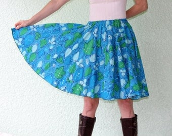 Vintage Tablecloth Circle Skirt - ABSTRACT array of blue, green leaves - TASTEFULLY psychedelic