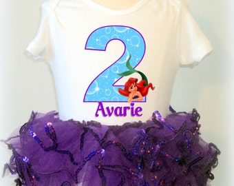 Little Mermaid Birthday Tutu - Purple Sequin Tutu