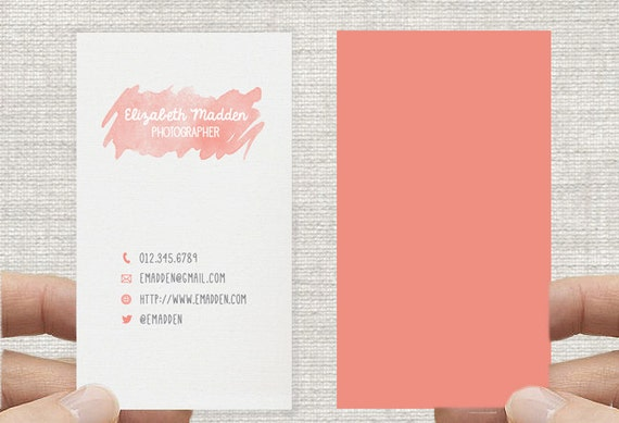Business Card -Watercolor Rustic- Printable Premade Template Double or single sided, Calling Card - Digital Download