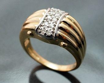 SALE- Vintage Ladies Diamond Ring Band in 14k Yellow & White Gold - Size 8