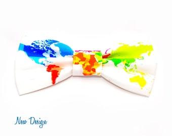 World Map Themed Hair Bow