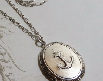 Anchor Locket Pendant Necklace Antiqued Silver Anchor Locket Nautical Locket Sailor Locket Navy Jewelry Beach Jewelry