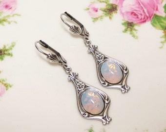 White Opal Earrings Fire Opal Earrings Art Deco Victorian Bridal Wedding