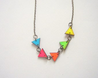Neon  Necklace, Wood Triangles Necklace,Bunting Necklace,Geometric Jewelry