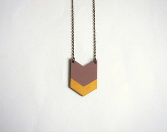 Brown &Gold Chevron Necklace, Wood Geometric Necklace, Hand Painted  Wood Necklace,Geometric Jewelry