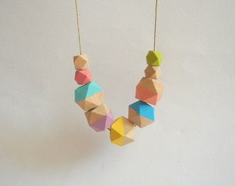 Neon Geometric Necklace, Handpainted Wood Geometric Necklace, Geometric Jewelry